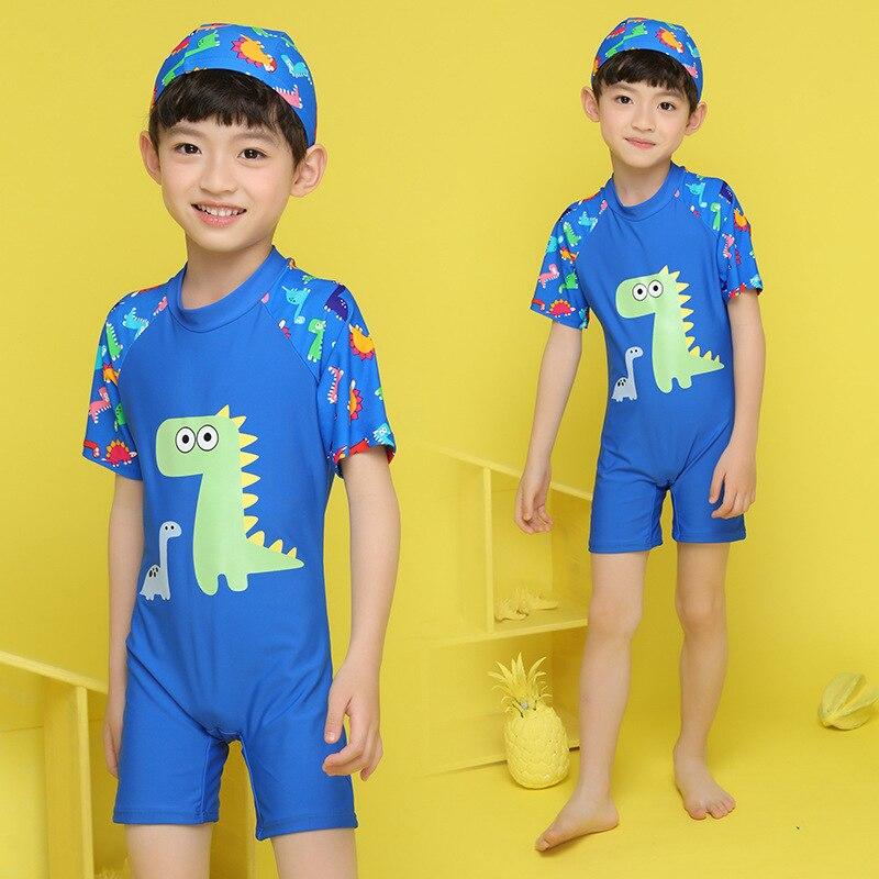 New Style KID'S Swimwear BOY'S Siamese Swimsuit With Swim Cap Cartoon Little Dinosaur Boxer Kids Set Korean-style