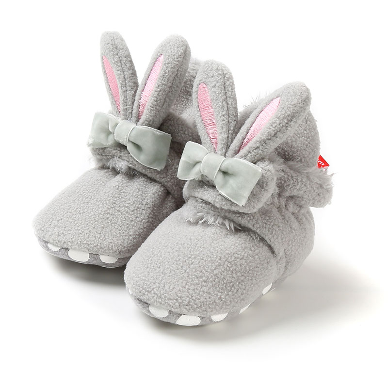Baby Shoes Newborn Toddler Kid Baby Girls Snow Boots Non-Slip Cute Rabbit Ear Bowknot Winter Warm Soft Soled Booties