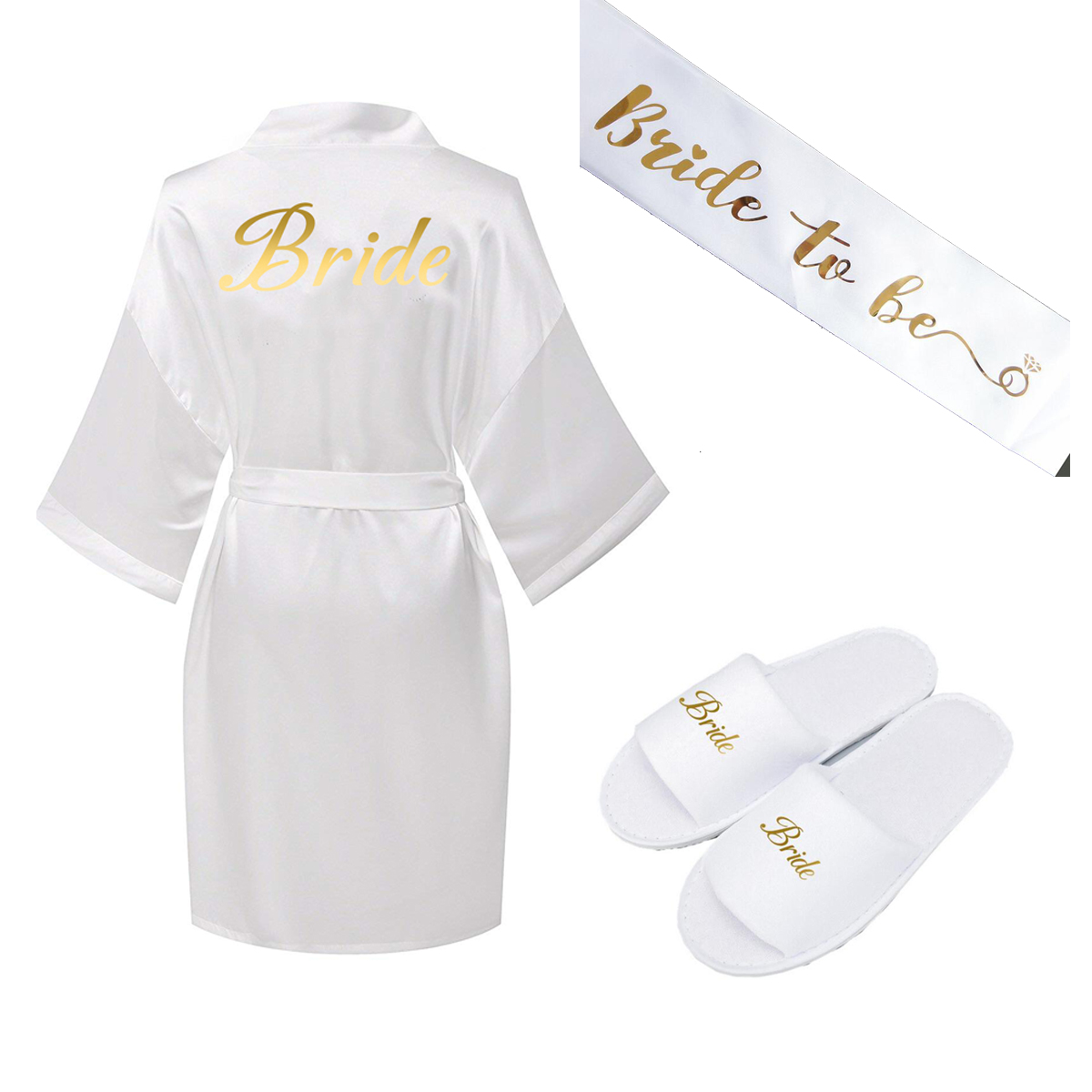 Zaxachilable 2019 NEW One Set  Satin Silk Robe Bride Robes Bride Slippers White Bride Robes Gold Print 001 Women Robe