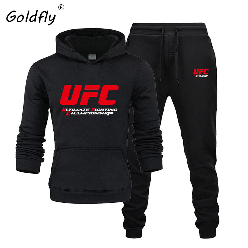 Goldfly Men Track Suit Fashion Hoodies+ Joggers Pants  Pattern Print Set Ultimate Fighting Championship Sportswear Autumn Winter