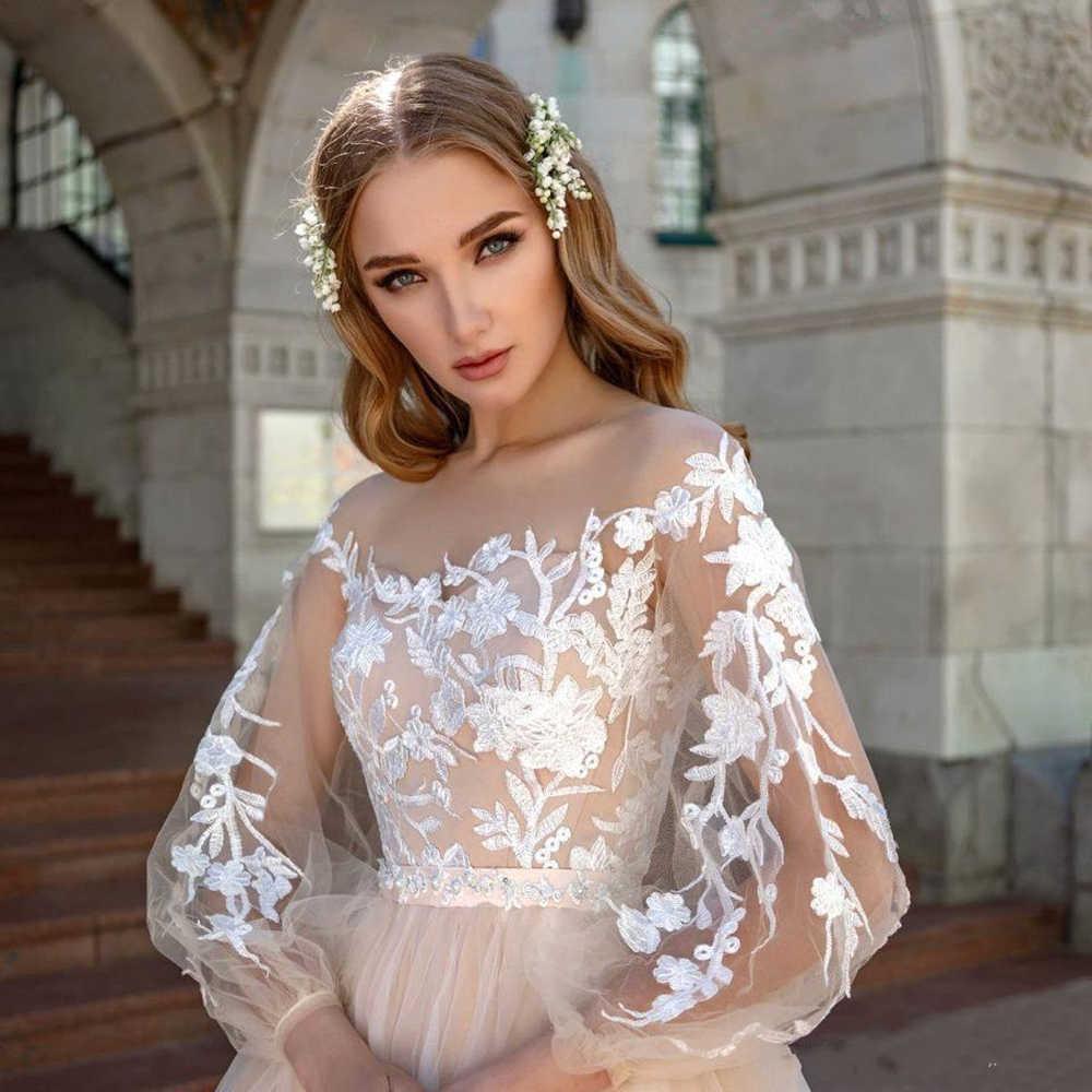 Nude Tüll Weiß Spitze Hochzeit Kleid Lange Puff Sleeve Sheer Hals Illusion Mieder Ausgefallene Design EINE Linie Champagne Brautkleider