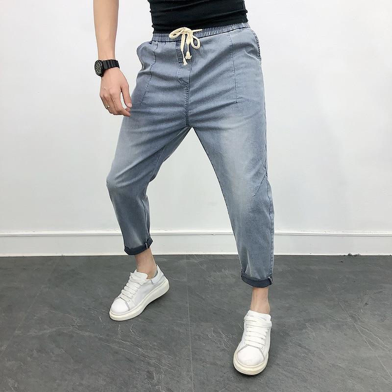 High Quality Spring Summer Mens Jeans All Match Elastic Loose Casual Men's Jeans Comfortable Denim Harem Pants Men Clothes 2020