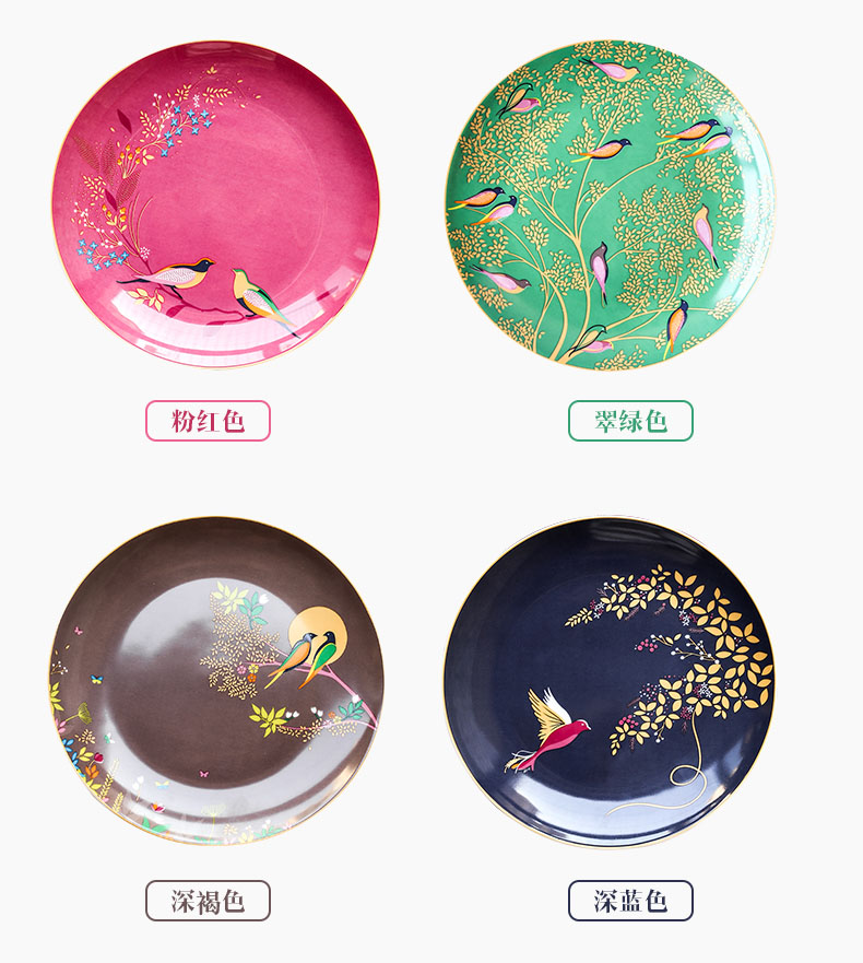 Color Flower and Bird Pattern Ceramic Round Dinner Plates