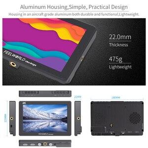 Image 4 - FEELWORLD P7 7 אינץ IPS 2200nit Ultra בהיר מצלמה שדה צג 4K HDMI DSLR צג אלומיניום דיור עם סוללה DC פלט