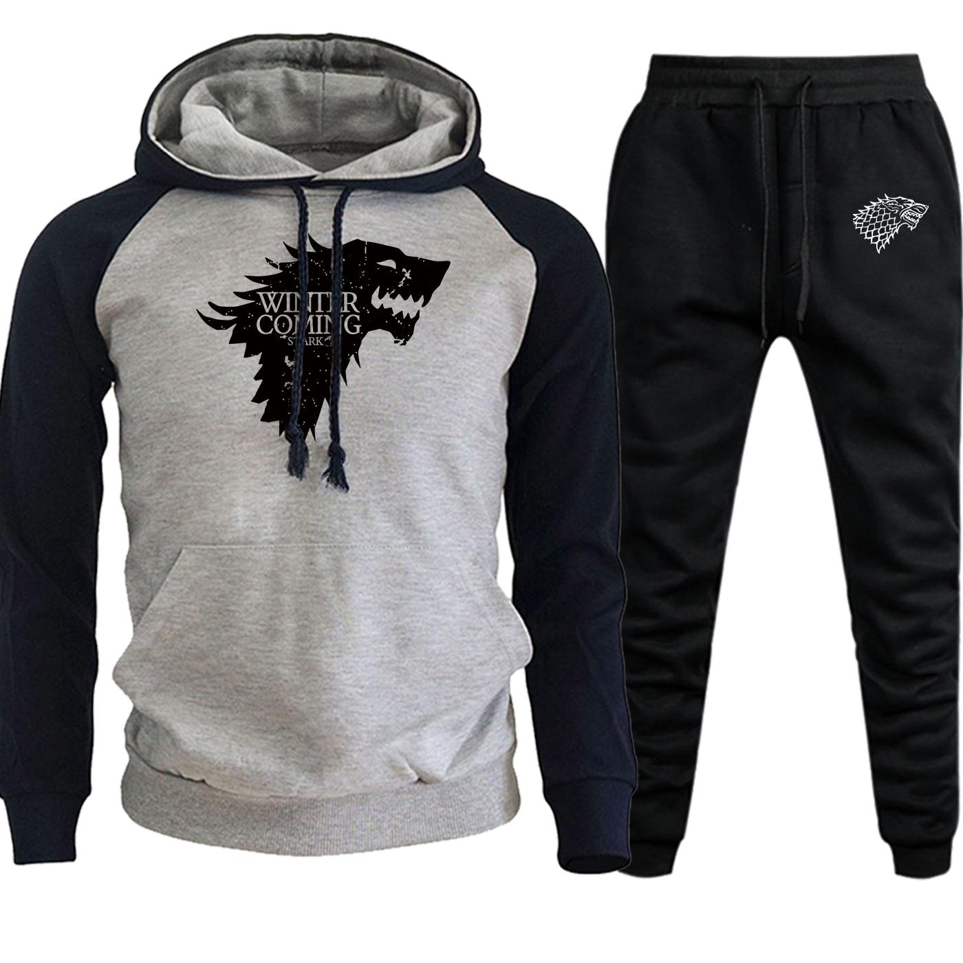 Game Of Thrones Sweatshirtds New 2019 Autumn Winter Men Raglan Hoodies Fleece Pullover Suit Male Hip Hop Hoody+Pants 2 Piece Set
