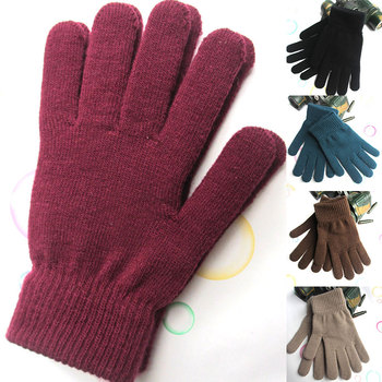 Winter Gloves Unisex Ribbed Knitted Full Fingered Gloves Solid Color Thicken Plush Lining Mittens Women's Thermal Wrist Warmer image