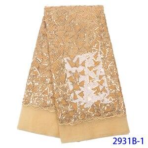 Image 3 - สีชมพูสีกำมะหยี่ลูกไม้ผ้าลูกไม้ไนจีเรียผ้า Sequins แอฟริกันสิ่งทอลูกไม้ลำดับผ้ากำมะหยี่สุทธิลูกไม้ WAPW2931B
