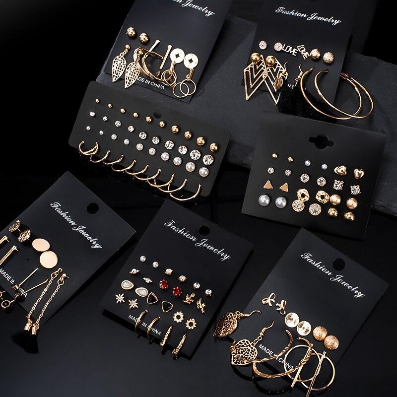 12 Pairs/Set Women's Earrings Pearl Earrings For Women Bohemian Fashion Jewelry 2020 Geometric Crystal Heart Stud Earrings New