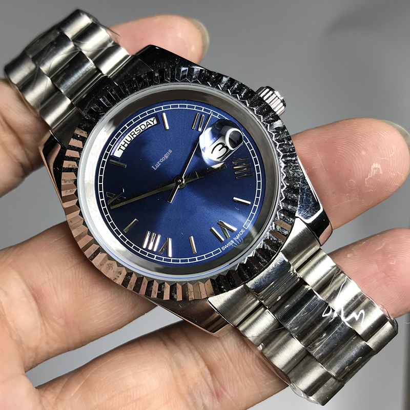 Luxury Brand Blue dial Silver Classic men 36mm mechanical glide smooth watch 2813 movement Day Date model AAA watches