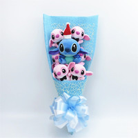 Kawaii Stitch Plush Toys with artificial flowers cartoon bouquet gift box stuffed animals Christmas Valentine's Day gif