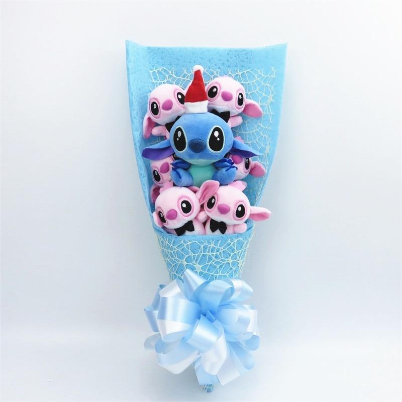 Kawaii Плюшевые игрушки, Стич с искусственными цветами мультфильм букет Подарочная коробка мягкие животные Рождество День Святого Валентина gif