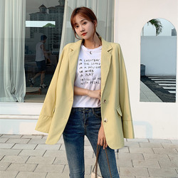 Women Solid Elegant Blazers Female Tops Loose Single-Breasted Suit Office Lady Casual Jacket Outwear Coat Pocket Blazer