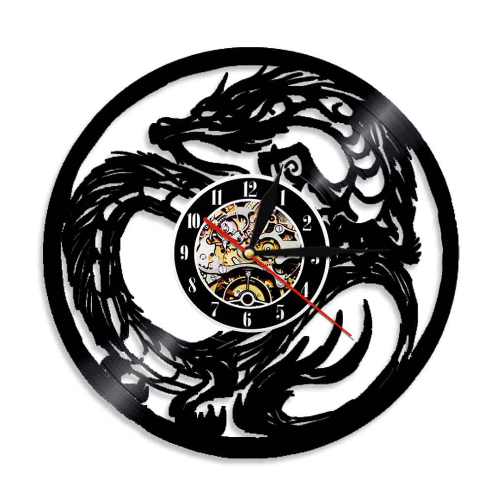 Chic Dragon Wall Clock Tattoo Tribal Dungeon Master Vinyl Record Teen Home Room Decor Animals WatchTimepiece Silent Sweep