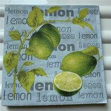 Servilletas de papel Decoupag boda cumpleaños fiesta Navidad vintage tejido amarillo verde naranja limón letras servilletas Decoración de mesa