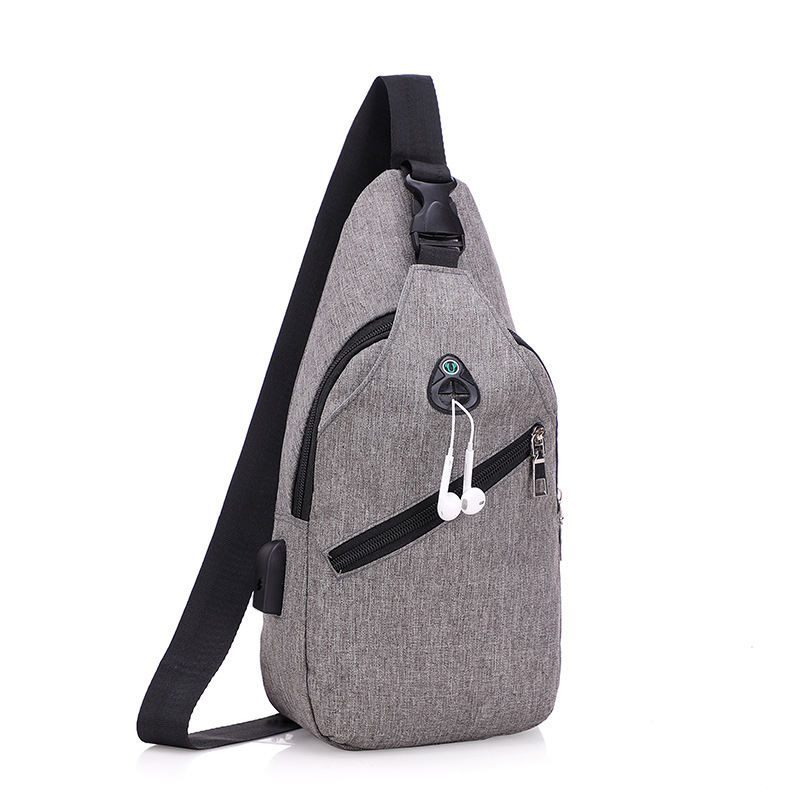 Multi-function USB Digital Security Chest Bag Men Waterproof Men Money Phone Pouch Bag Female Shoulder Messenger Bag Male Chest image