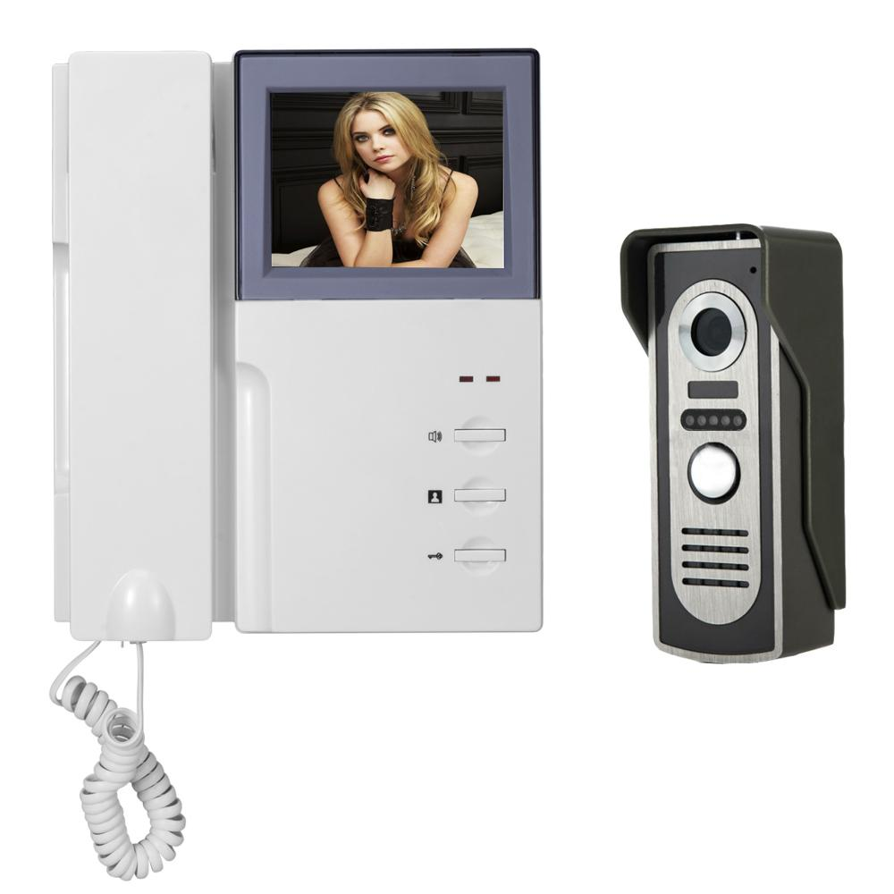 "4.3 ""Barvni video domofon video domoznanska video kamera Doorbell Intercom IR kamera za nočni vid Doorbell komplet za stanovanje"
