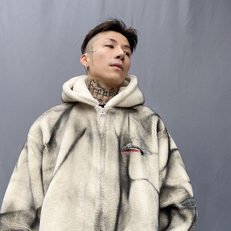 Seveyfan, Мужская Флисовая Куртка с капюшоном в стиле хип хоп, винтажная, с буквенным принтом, негабаритная, утолщенная, теплая куртка и пальто для мужчин, R3064 - 2