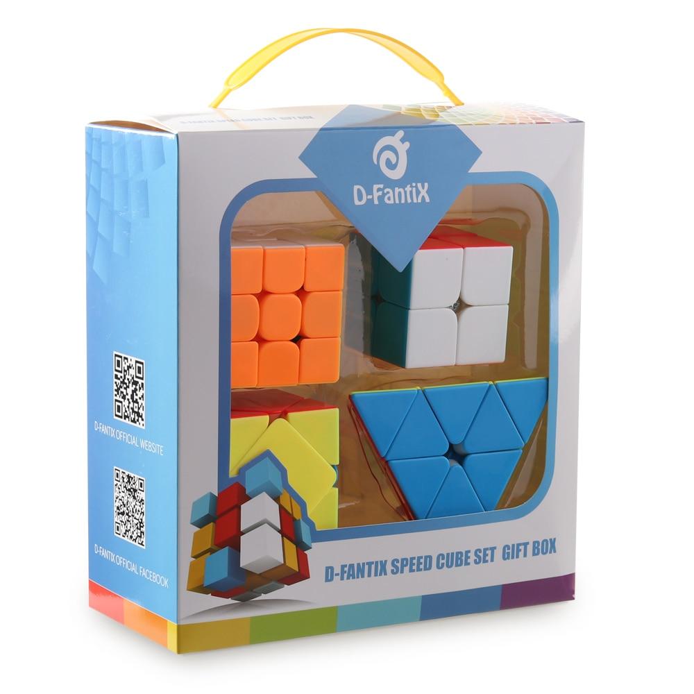 D-FantiX Speed Cube Set 2x2 3x3 Mofang Jiaoshi MF2S MF3RS2 Skewb Pyramid Stickerless Speed Cube Bundle Pack Collection