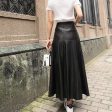 Autumn Winter Women Ankle Length Long Wide Flare Skirt High Waist Sheepskin Genuine Leather Skirts Harajuku Casual Maxi Skirt(China)