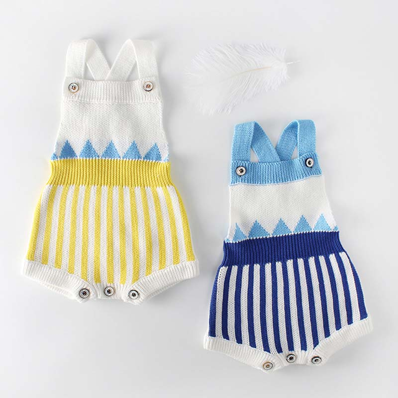 Knitted Baby Romper Newborn Baby Clothes Sleeveless Baby Girl Romper Cotton Infant Baby Boy Romper Toddler Baby Jumpsuit Overall image