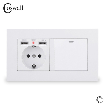 COSWALL EU Russia Spain Wall Socket With 2 USB Charge Port + 1 Gang Reset Momentary Contact Push Button Light Switch PC Panel - discount item  12% OFF Electrical Equipment & Supplies