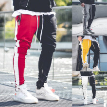 Drawstring Elastic Pant 2019 Fashion Men's Patchwork Color Block Street Long Trousers Male Streetwear Pencil Pants L0827