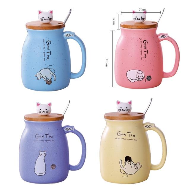 Cute Cat Mug With Spoon  6