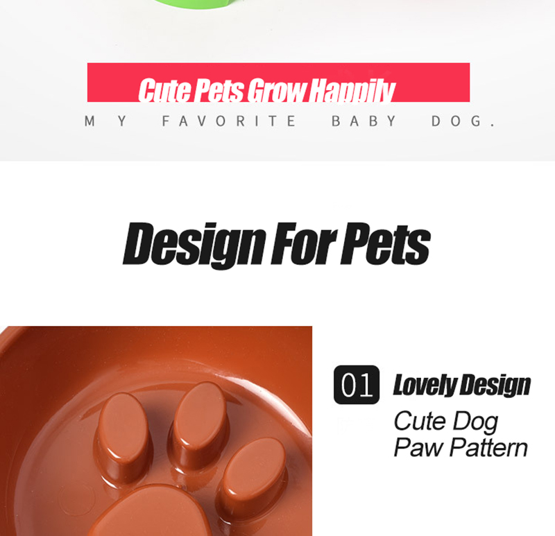 Cute Paw Dog Bowl Plastic Anti Choke Slow Feeder Pet Food Bowls For Cat Water Drinking Products For Dogs Silicone Container 6