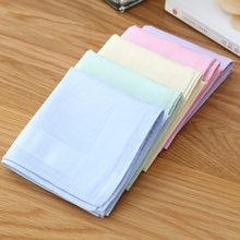 Solid Pure Color Handkerchief Cotton Unisex Plain Pocket Squares Hankies Neck Hair Scarf Chest Classic Style Towel 1PC 40*40cm