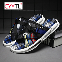 CYYTL Summer Outdoor Casual Slippers Men Sandals Non-Slip Beach Shoes Swimming Shoes For Male Flip Flops Home Slippers Pantoufle 2020 summer cool rhinestones slippers for male gold black loafers half slippers anti slip men casual shoes flats slippers wolf