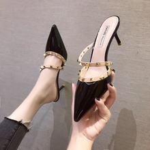 O envio gratuito de salto sexy sapatos femininos mules apontou toe sapatos rebites cinta salto senhoras sandálias femininas sapatos vestido marca