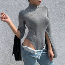 split long-sleeved women's one-piece tops new solid color half-high round neck temperament slim slimy wild bottoming T-shirt(China)