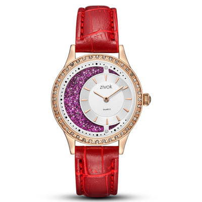 ZIVOK Watch Women Luxury Brand Female Fashion Light Glitter Dial With Diamond Belt Ladies