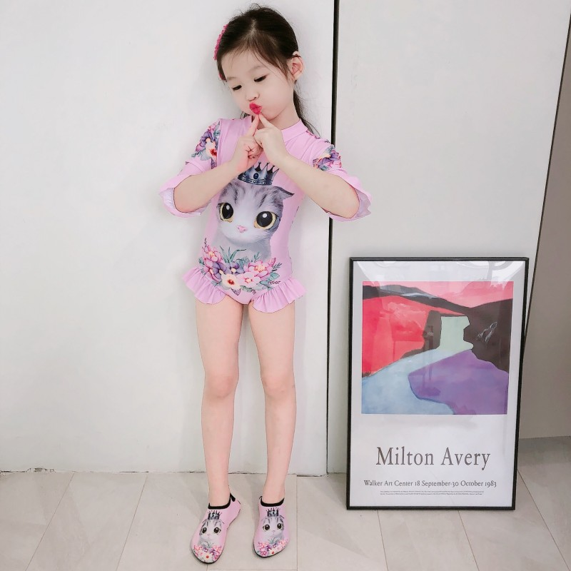 2020 Kitten Girls Swimwear 1-7 Years Children Swimsuit One Piece Girls Swimsuit Kid Girls Bathing Suit Beach Wear With Cap