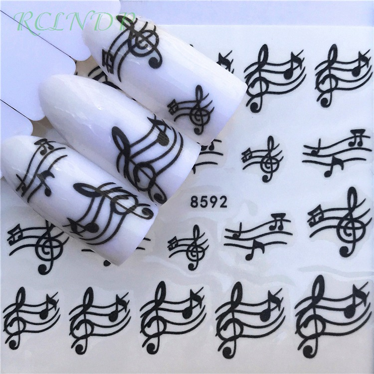 Water sticker for nail art decoration slider music note lovely cat heart star adhesive design decal manicure lacquer accessoires