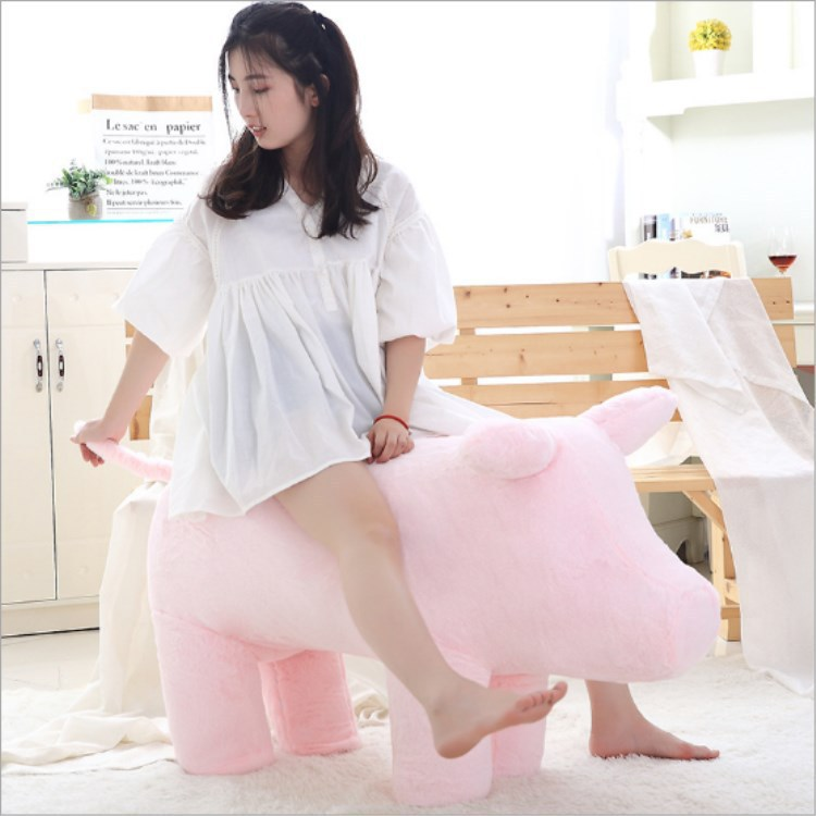 Longing for Life Celebrity Style Network Red Pig Sofa lu dan Piggy  Seat Stool Pink Pig Plush Doll - 2