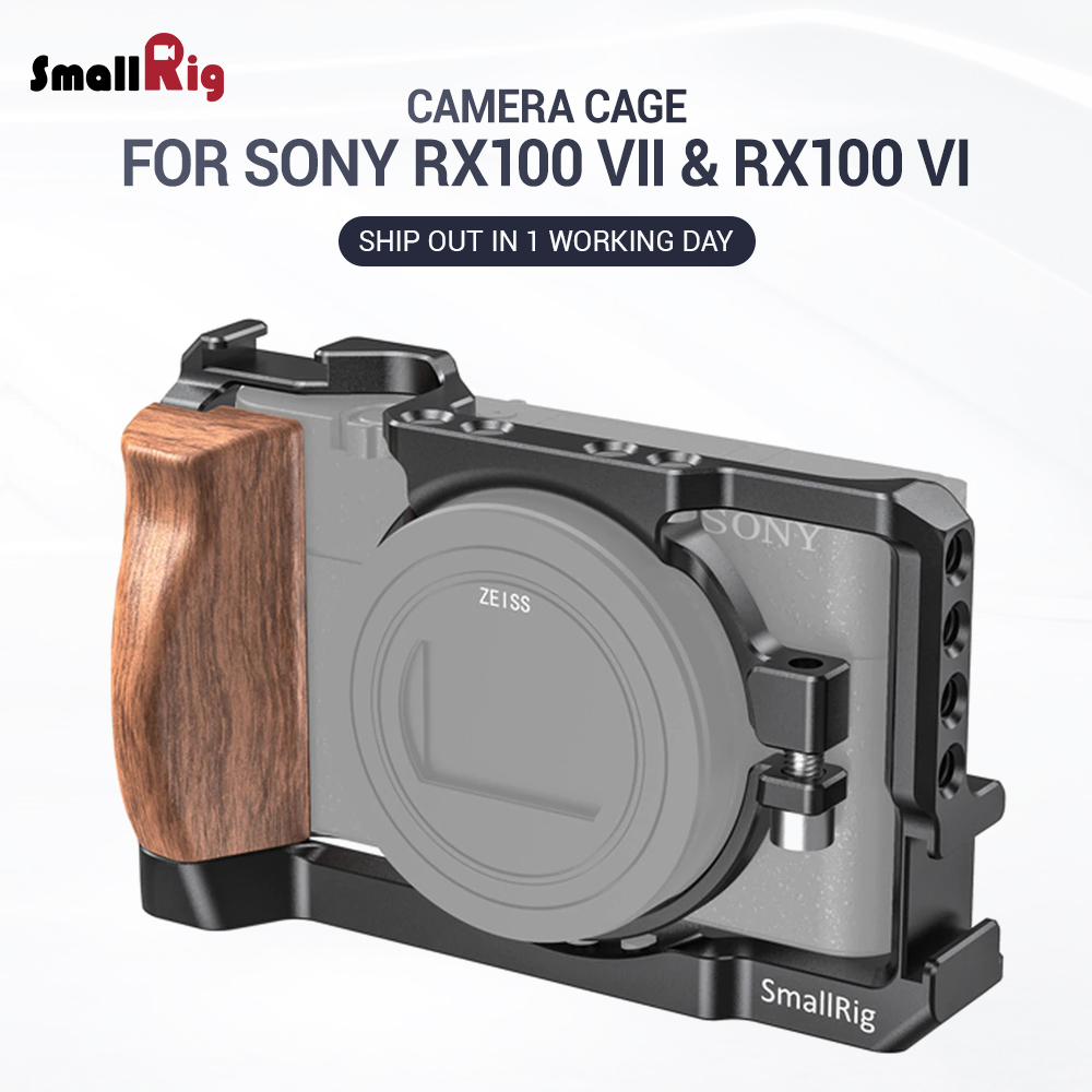 SmallRig Cage For Sony RX100 VII & RX100 VI Camera Feature W/ Wooden Side Handle Cold Shoe Mount Fr Microphone DIY Options 2434