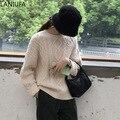 Neue mode Frauen Pull Oansatz Pullover schwarz apricot Pullover Frauen Pullover Jumper Harajuku Chic Kurze Pullover Twisted Mujer Y973