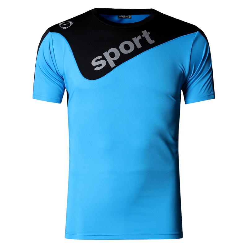 Jeansian Men 39 s Sport Tee Shirt Tshirt T shirt Running Gym Fitness Workout Football Short Sleve Dry Fit LSL188 Blue in T Shirts from Men 39 s Clothing