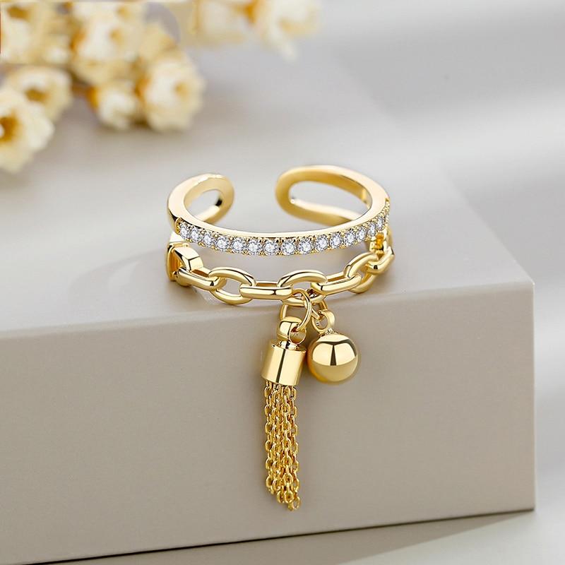 Женское регулируемое кольцо с подвеской, кольцо золотого цвета с кисточкой из звеньев, с цирконием и шипами, 2021