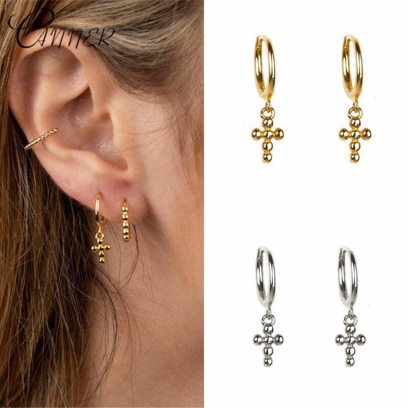 CANNER Minimalist 925 Sterling Silver Round Circle Earrings Cross Pendant Drop Dangle Earrings For Women Ear Piercing Jewelry