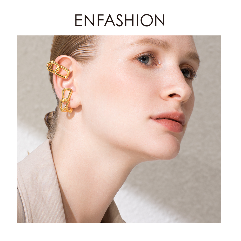ENFASHION Punk Link Chain Ear Cuff Clip On Earrings For Women Rock Earings Without Piercing Boucle D'oreille Femme 2019 EC191048