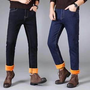 Image 4 - Winter Mens Warm Jeans 2019 New Classic Style Business Casual Thicken Elastic Denim Pants Male Brand Trousers Blue Black