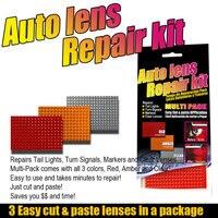 Kit de cinta de reparación de cristal para coche, accesorios universales, conjunto de herramientas de reparación de luces, pulido de grietas, color ámbar rojo, 3 uds.