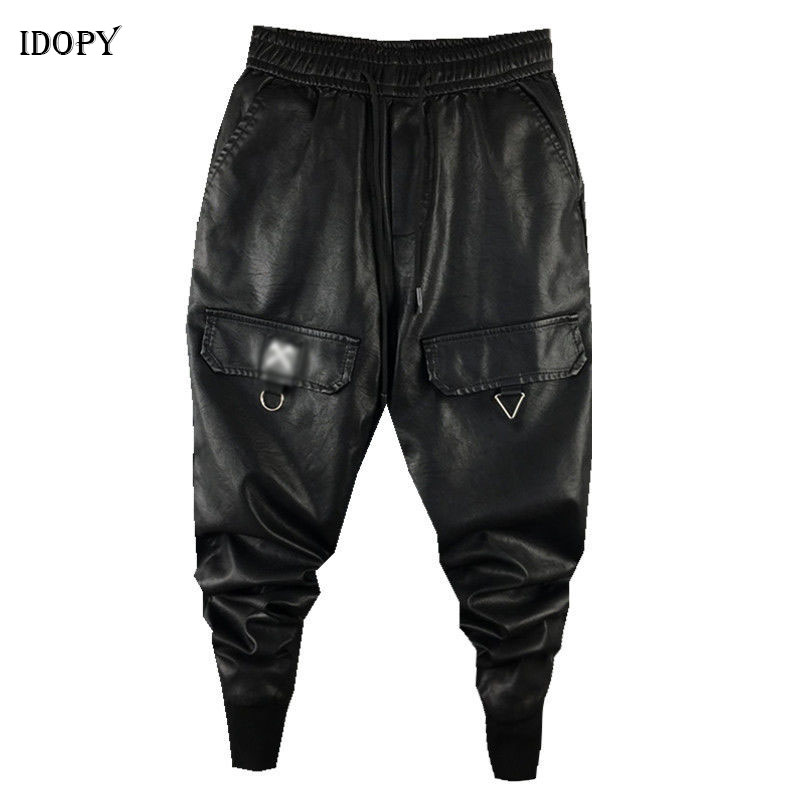 Idopy Men`s Faux Leather Harem Pants Drawstring Elastic Waist Street Style Hip Hop Ankle Cuffed PU Leater Joggers Trousers Male