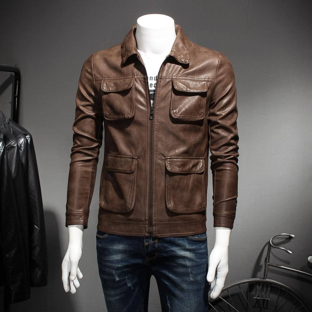 High Quality Men's leather jacket casual style slim Pockets decoration men motorcycle jacket Brown Black 8219