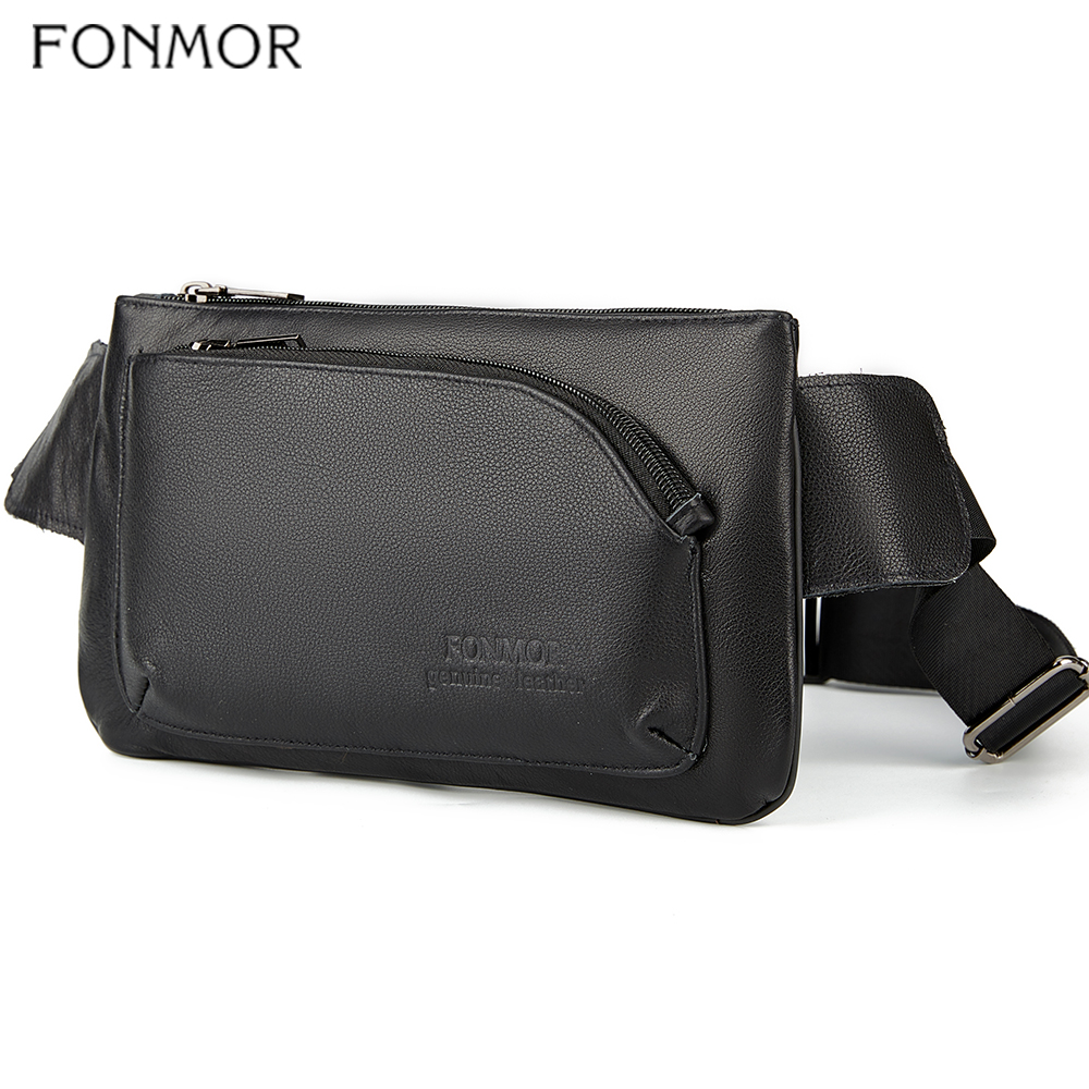 Fonmo Men Genuine Leather Waist Bag Male Waist Pack Travel Funny Pack 110cm Belt Length Bag Man For Phone Pouch Bolso Fashion