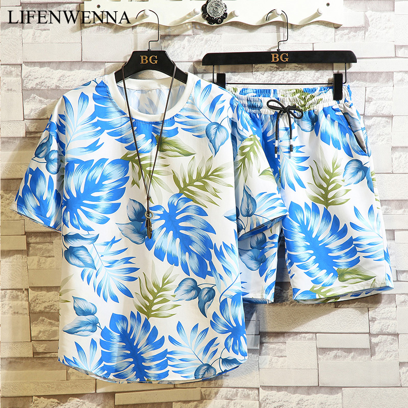 2020 New Fashion Summer Short Sleeve Sets Men Casual Print Suits For Men Chinese Style Print Beach Suit Sets T Shirt+ Shorts 5XL