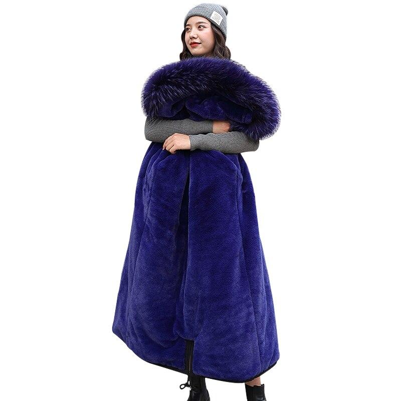 Winter   Parkas   2019 new women's coats hooded fur collar Slim long thick warm winter cotton coats snow -30 degree jackets   Parkas