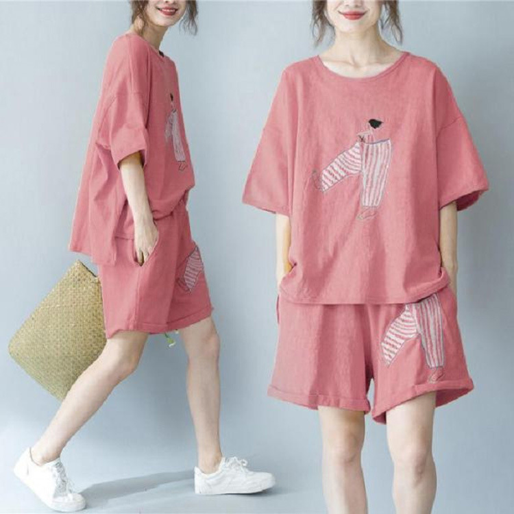 2020 WOMEN'S Dress Summer Embroidery Short Sleeve T-shirt Women's Slimming Loose Casual Loose Pants Suit Shorts Two-Piece Set